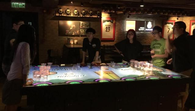 beer pong in HK bar